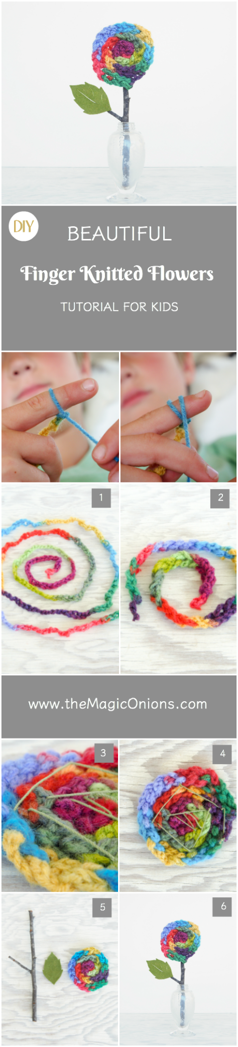 Finger Knitted Flower Tutorial