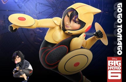 "hiro-hamada Robotics prodigy Hiro Hamada has the mind of a genius—and the heart of a 14-year-old: his state-of-the-art battle-bots dominate the underground bot fights held in the dark corners of San Fransokyo. Fortunately, big brother Tadashi redirects Hiro's brilliance, inspiring him to put his brain to the test in a quest to gain admission to the San Fransokyo Institute of Technology. When a tragic event changes everything, Hiro turns to a robot named Baymax, and they form an unbreakable bond—and two-sixths of a band of high-tech heroes on a very important mission. Baymax (Voiced by Scott Adsit) 2 of 6 baymax Baymax cares. That's what he was designed to do. The plus-sized inflatable robot's job title is technically Healthcare Companion: With a simple scan, Baymax can detect vital stats, and, given a patient's level of pain, can treat nearly any ailment. Conceived and built by Tadashi Hamada, Baymax just might revolutionize the healthcare industry. But to the inventor's kid brother Hiro, the nurturing, guileless bot turns out to be more than what he was built for—he's a hero, and quite possibly Hiro's closest friend. And after some deft reprogramming that includes a rocket fist, super strength and rocket thrusters that allow him to fly, Baymax becomes one of the Big Hero 6. Fred (Voiced by T.J. Miller) 3 of 6 fred Fanboy Fred comes off like a laid-back dude with no direction. But this sign-twirling, monster-loving, comic-book aficionado is sure to go places—when he's good and ready. For example, Fred doesn't hesitate to join ""Big Hero 6,"" and he has a lot of ideas for his super-hero skillset, too. His ferocious, fire-breathing alter ego comes complete with claws, integrated communications and a super bounce. But his sign-spinning may still come in handy. Go Go Tomago (Voiced by Jamie Chung)"