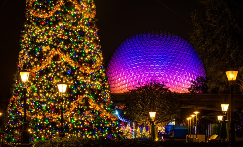 Christmas Tree and Spaceship Earth at Epcot