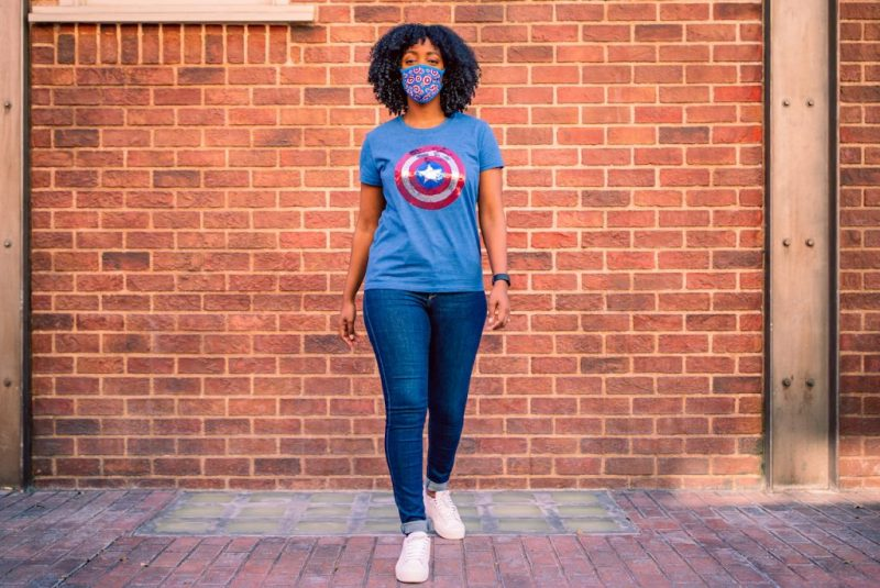 Sequined top featuring the classic Captain America shield