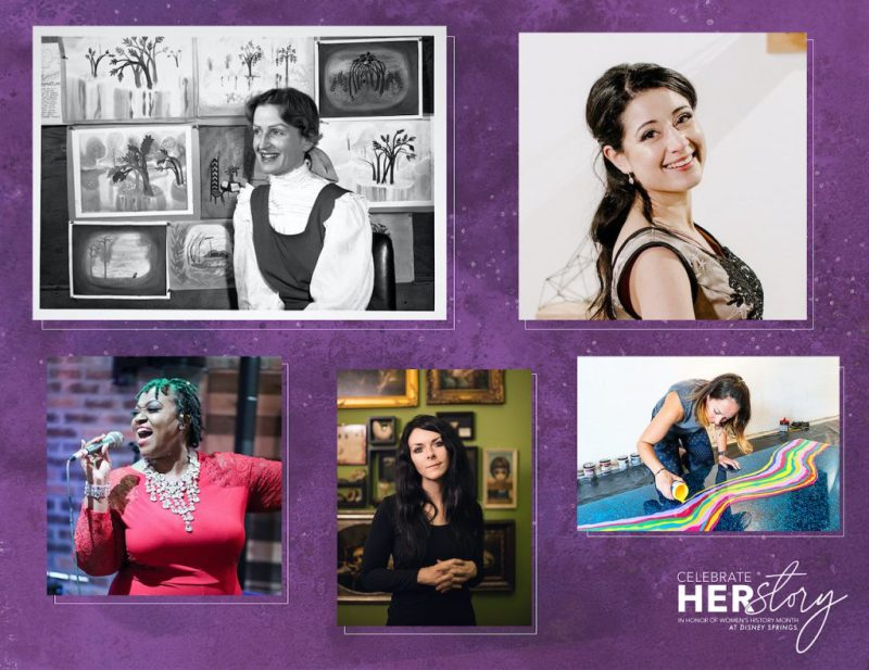 Collage of women artists with pieces found at Disney Springs