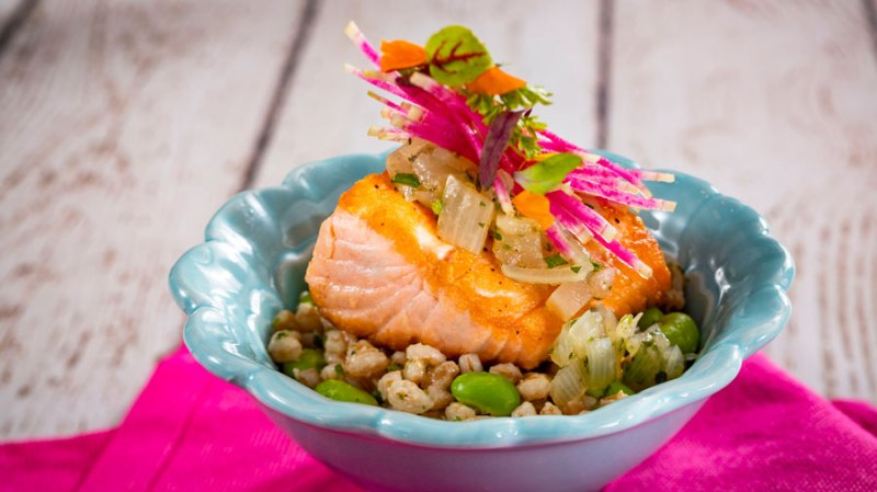 Salmon Farro Risotto from the Flavor Full Kitchen at the Health Full Trail presented by AdventHealth at Taste of EPCOT International Flower & Garden Festival