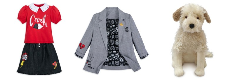 Cruella-inspired Skirt and Top set, vintage-inspired Cruella Blazer, and Buddy Plush with shaggy faux fur