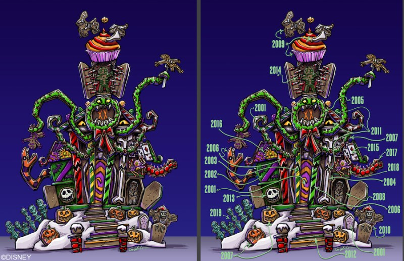 Graphic showing past elements in the 2021 Haunted Mansion Holiday Gingerbread House at Disneyland Park