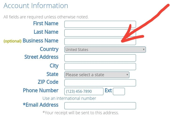 One of the bluehost signup steps on how to start a blog