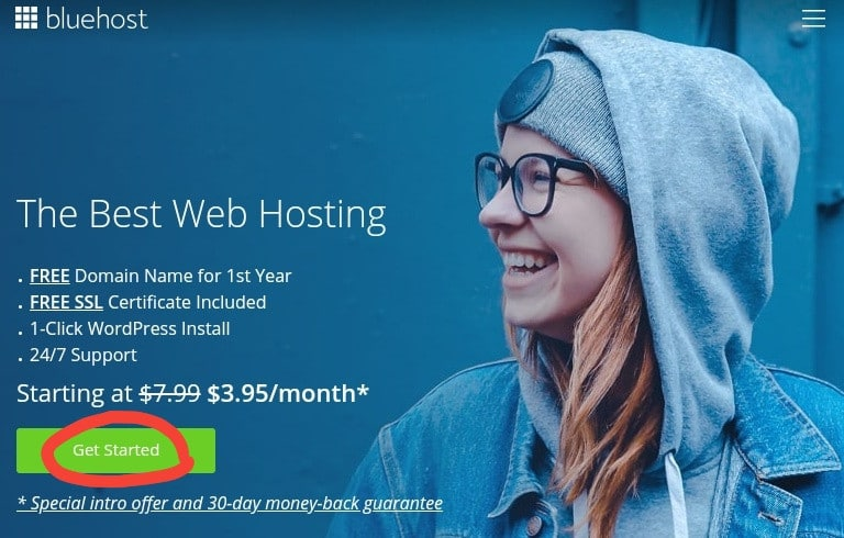 Bluehost registration banner image that gives step-by-step signup  process on how to start a blog