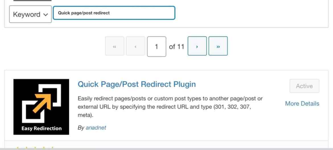 Image showing one of the plugin use in creating a redirect in wordpress
