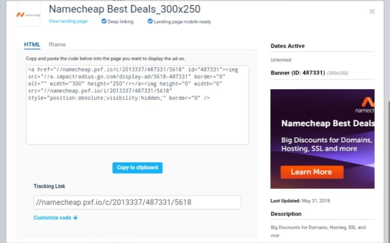 One of the descriptive image signup on namecheap affiliate program