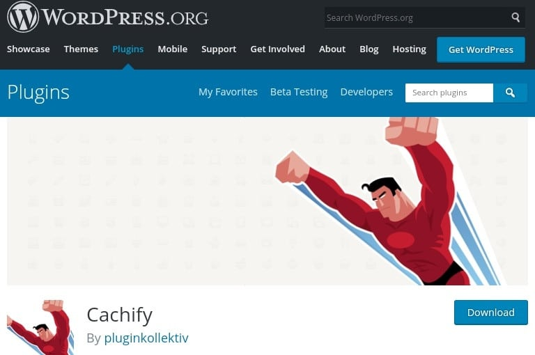 Developer image of caching plugin, one of the plugin used to clear cache in WordPress