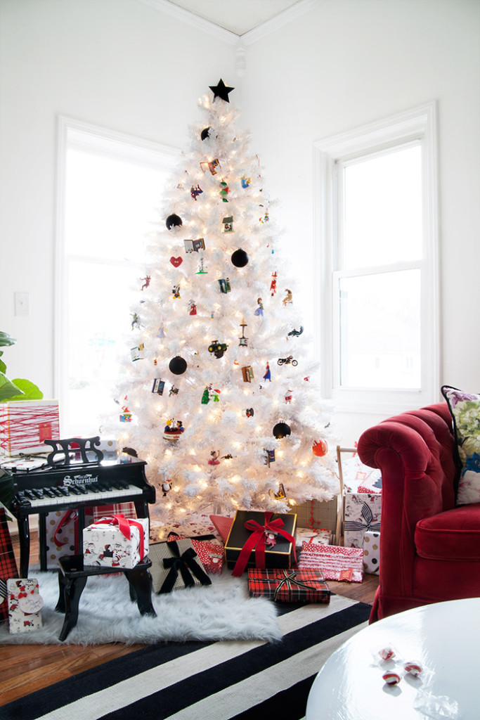 white christmas tree with black decorations my web value