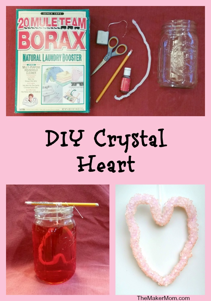 grow crystals for Valentine's Day decorations with Borax. Instructions for this and other fun DIY activities on www.TheMakerMom.com.