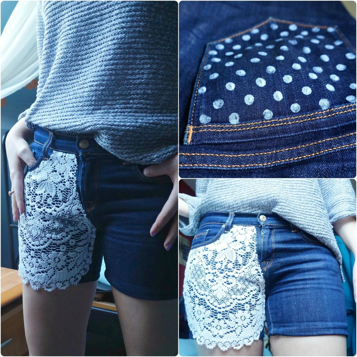 DIY upcycled Tommy Hilfiger-jeans shorts | The Makeup Dummy