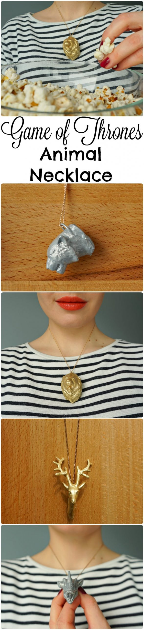 Game of Thrones DIY How to make a direwolf, stag, lion and dragon Animal Necklace Tutorial by The Makeup Dummy