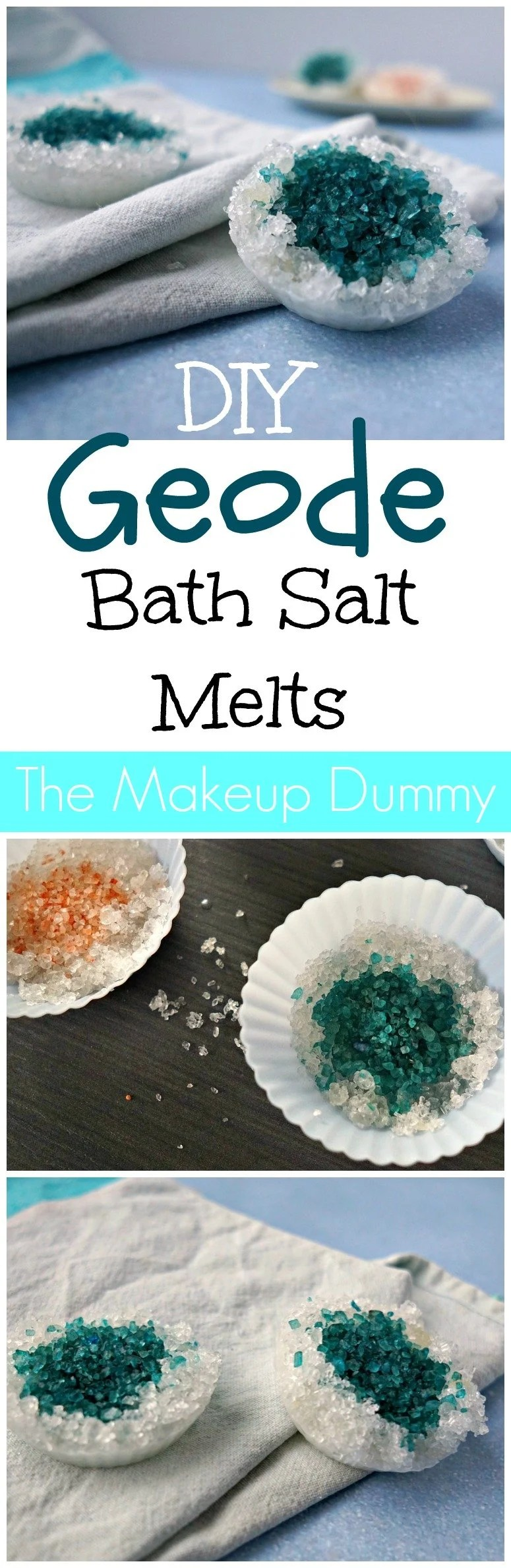 DIY Geode Crystal Rock Epsom Bath Salt Melts - How To tutorial by The Makeup Dummy #diygifts #diybeauty #naturalbeauty