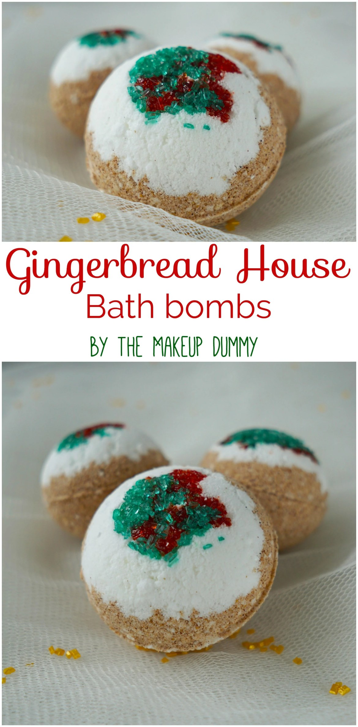 Great Christmas Gift idea! These DIY Gingerbread House Bath Bombs are so easy to make and are a perfect stocking stuffer or secreat santa gift! Tutorial by The Makeup Dummy