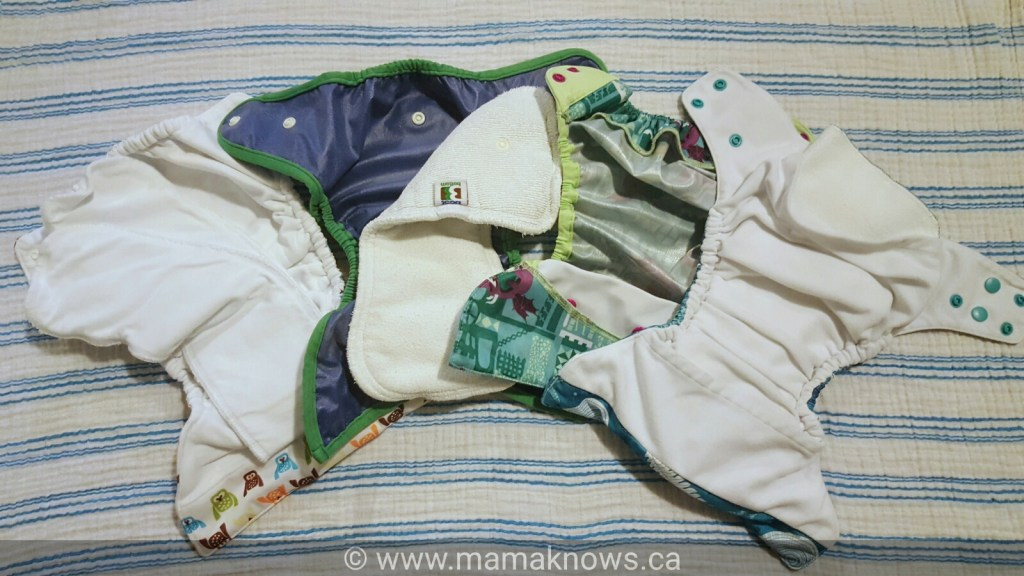 Inner view if different types of Cloth diapers