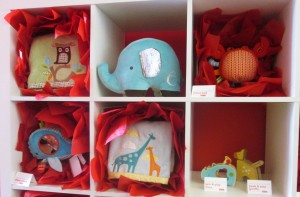 So sweet! Spin & Play Rhino & Peek & Play Giraffe (bottom right, $10 each, avail. 9/13)