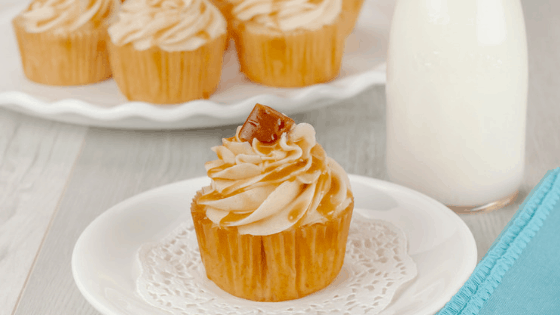 Caramel Drizzled Brown Sugar Vanilla Cupcakes