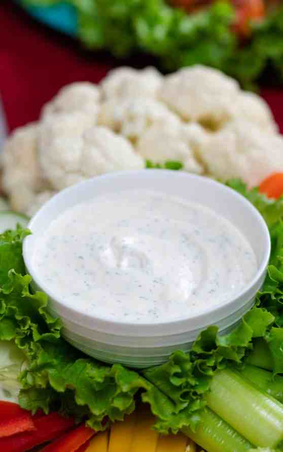 homemade ranch dip carrots cauliflower, cucumbers, red pepper, yellow pepper, celery, lettuce