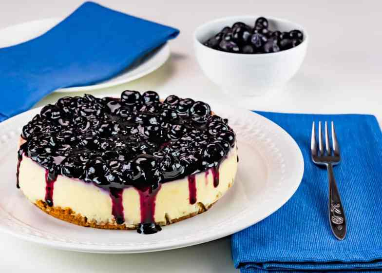 Instant Pot marbled blueberry cheesecake with blueberry compote