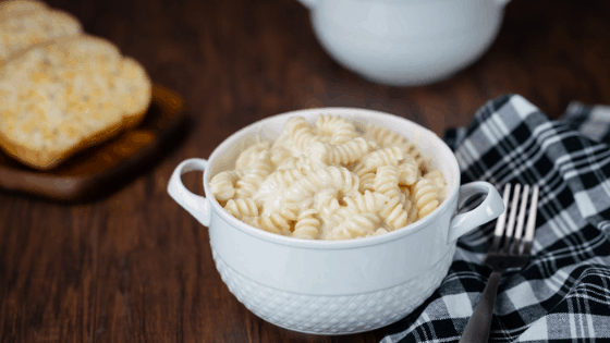 instant pot white cheddar jack mac n cheese in white bowl