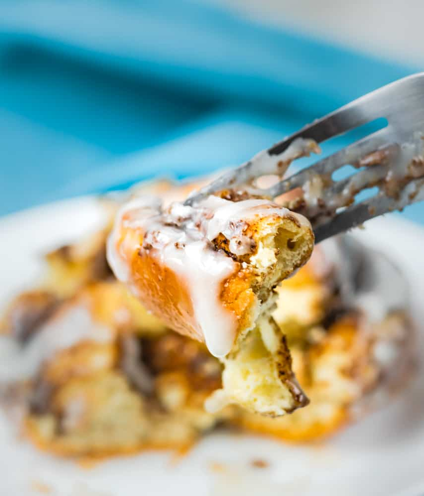 Honey Cinnamon Rolls bite on a fork
