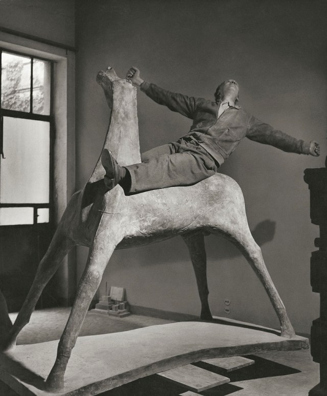 Il cavaliere The-sculptor Marino Marini on his horse Milan Italy 1952 © Herbert List Magnum Photos