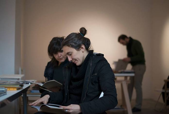 giudici al lavoro (The judges are here reviewing and selecting the On Landscape book call submissions) ph Matèria Fb