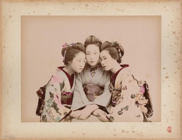 Kusakabe Kimbei, Tre ragazze, 1880-1890