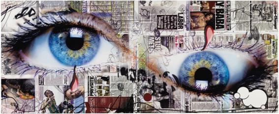 Urs Fischer yummyhorseseeye 2013 Pannello in fibra di legno, serigrafia su carta, vernice acrilica, acciaio 75,7 x 318,5 x 129 cm Collezione Annette e Peter Nobel