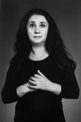 "Shirin Neshat Ilgara, from ""The Home of My Eyes"" series, 2015 Silver Gelatin Print and Ink 152.4 x 101.6cm (40 x 60 in) Courtesy Written Art Foundation, Frankfurt am Main, Germany"