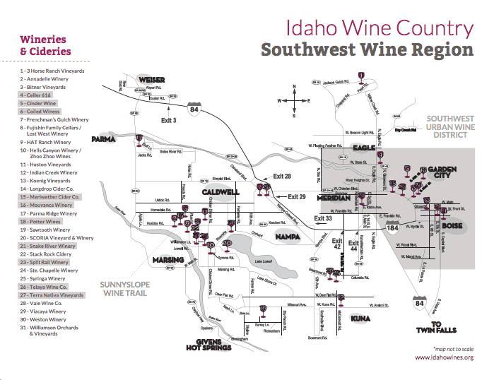 Idaho's Wine Country Map - From Idahowines.org