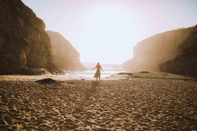 Emily on Shark Fin Cove Beach California