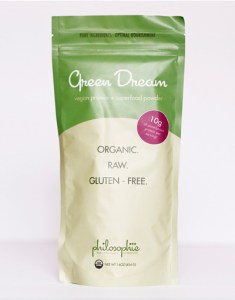 """A detoxifying, weight loss, energizing, strengthening superfood blend. The Green Dream was the first superfood blend I created. """"Green foods"""" are one of the least common foods consumed, yet they are the most nutrient-dense and most important! I wanted to find a way to get these incredible foods into your body without compromising flavor or convenience.  Green Dream is high in plant-based protein, so it keeps you full for longer and helps burn fat. Unlike other protein blends on the market, there are no """"fillers"""" to extend the blend:  Green Dream uses only superfoods as ingredients, thus providing abundant, concentrated nutrient power with each teaspoon you consume.  Green Dream cleanses as its pure ingredients break down toxins and ushers them from the body. And Green Dream is energizing: it provides a natural, caffeine-free power boost every day as it sets the stage for sustained energy while your body releases old materials and rebuilds with precious new fuel. This blend also supports the body in weight loss, if needed: when your every cell is nourished from the clean protein, good fats, and detoxifying green power it provides, the body gives itself permission to let go of unneeded material.  By feeding your cells only the best, Green Dream makes being healthy and fit easy... like a dream. - See more at: http://www.thephilosophie.com/collections/superfood-blends/products/green-dream-8oz#sthash.A34NSeVW.dpuf"""