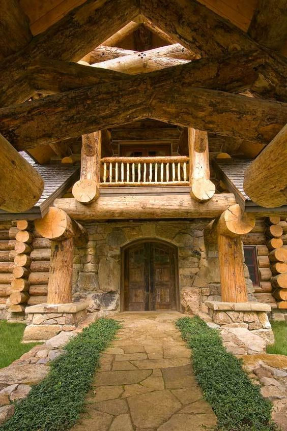 grand wood and stone entryway