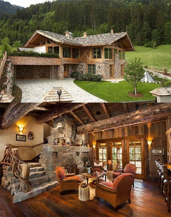 stone and wood home