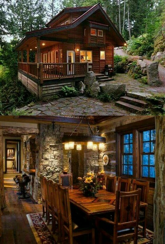 wood and stone cabin