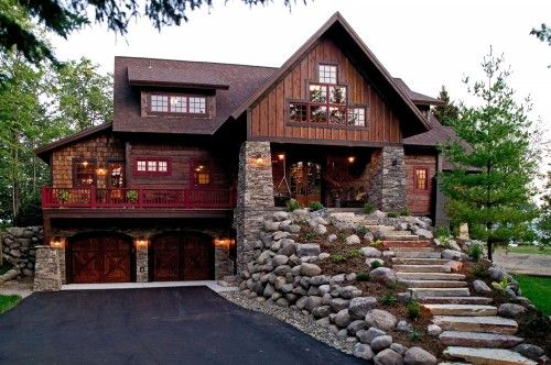 wood and stone exterior home