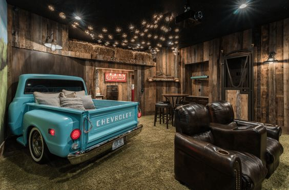 chevy pickup in man cave