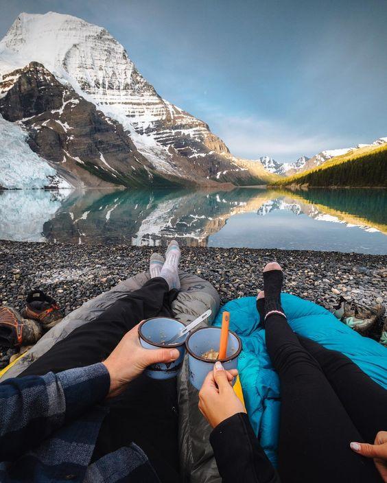 breakfast near mountain lake