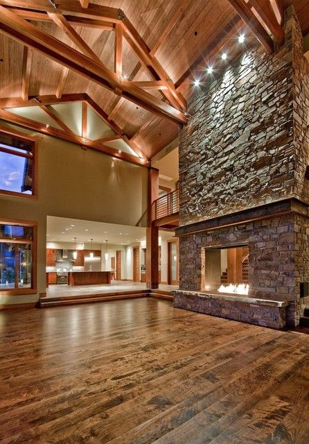 huge stone fireplace in big living room