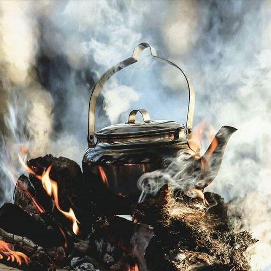 kettle on fire