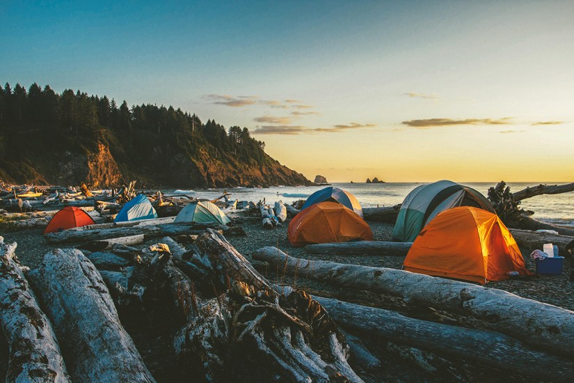 beach camping with friends