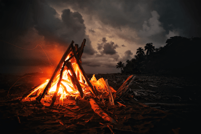 campfire with storm brewing
