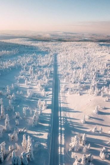 long snowy road