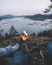 warm fire after hike
