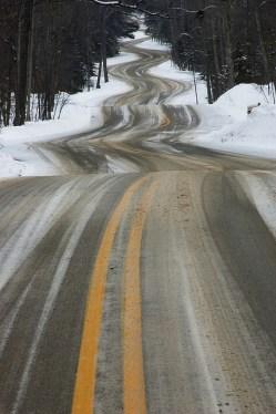 winding snowy road