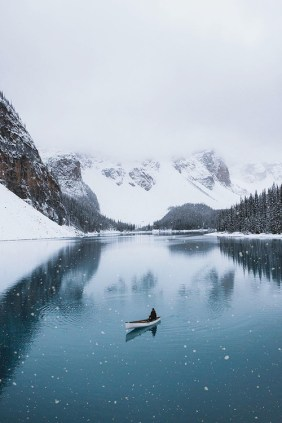 winter lake and boat