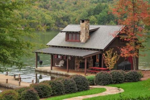 cabin and dock by the lake