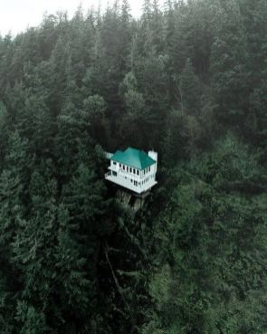cliff side home among trees